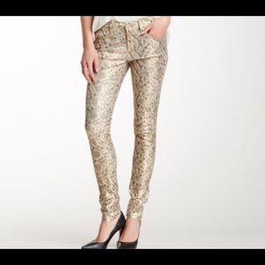 NWT gold snakeskin print pants
